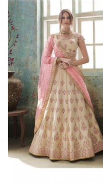 Off White Patterned Lehenga
